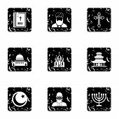 Spirituality Icons Set. Grunge Illustration Of 9 Spirituality Icons For Web poster