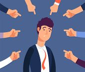 Bullying At Work Concept. Adult Man Get Harassment By Angry Coworkers. Accus At Office Vector Illust poster