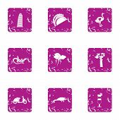 Cocktail Evening Icons Set. Grunge Set Of 9 Cocktail Evening Vector Icons For Web Isolated On White  poster