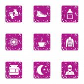 Midnight Icons Set. Grunge Set Of 9 Midnight Vector Icons For Web Isolated On White Background poster