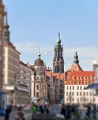 The City Centre Of Dresden With Historical Buildings, With Blue Skies And Fuzzy Vignetting poster