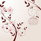 stock photo of adornments  - Beautiful vintage floral background with birds - JPG