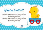 Cute baby boy shower invitation