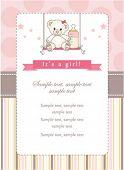 stock photo of newborn baby girl  - New baby girl shower invitation - JPG