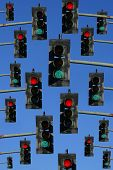 foto of traffic signal  - collection of red and green traffic signal lights - JPG