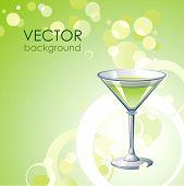 Постер, плакат: Вектор зеленый фон с алкоголем коктейль