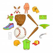 Baseball Icons Set In Cartoon Style. Softball Equipment Set Collection Illustration poster