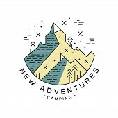 New Adventures Camping Logo Design, Adventure, Camping, Alpinism, Mountaineering And Outdoor Activit poster