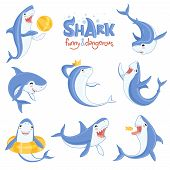 Cartoon Shark Swimming. Ocean Big Teeth Blue Fish Smiling And Angry Vector Illustrations Of Mammals  poster