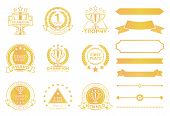 Grand Prize Award Certificates And Ribbons In Gold. Round Seals That Approve Win. Decorative Element poster