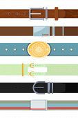 Leather Belt. Various Cartoon Pictures Of Different Types Of Belts For Men. Leather Strap With Buckl poster