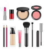 Cosmetics For Women. Vector Pictures Of Various Cosmetics Packages. Illustration Of Make Up, Foundat poster