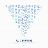 Flu And Symptoms Concept In Triangle With Thin Line Icons: Temperature, Chills, Heat, Runny Nose, Do poster
