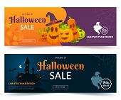 Halloween Sale Promo Web Banner. Colorful Halloween Coupons With Spooky Pumpkins, Castle And Ghsots. poster
