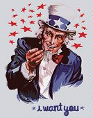 stock photo of goatee  - Smiling Uncle Sam  - JPG