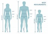 Silhouttes Of Man, Women And Boy In Full Length With Measurement Lines Of Body Parameters . Man, Wom poster