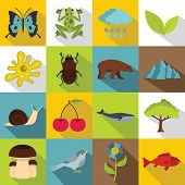 Nature Items Icons Set. Flat Illustration Of 16 Nature Items Icons For Web poster