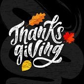 Happy Thanksgiving Lettering Calligraphy Brush Text Holiday Vector Sticker Chalkboard poster