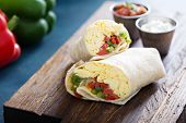 Vegetarian Breakfast Burrito With Eggs And Bell Pepper poster