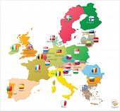 stock photo of sweden flag  - The European Union map with flags - JPG
