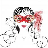 stock photo of masquerade mask  - girl in a carnival mask - JPG