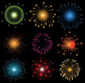stock photo of firework display  - set of colorful fireworks - JPG