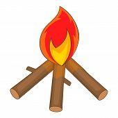 Burning Bonfire Icon. Cartoon Illustration Of Burning Bonfire Icon For Web Design poster