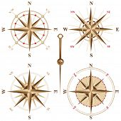 image of compass rose  - 4 vintage compasses - JPG
