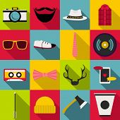 Hipster Items Icons Set. Flat Illustration Of 16 Hipster Items Icons For Web poster