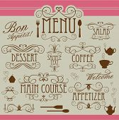 Menu vintage ornaments