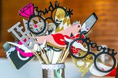 Retro Party Set Glasses, Hats, Lips, Mustaches, Masks Design Photo Booth Party Wedding Funny Picture poster