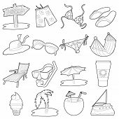 Sea Rest Icons Set. Cartoon Outline Illustration Of 16 Sea Rest Icons For Web poster