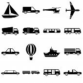 Transportation Items Icons Set. Simple Illustration Of 16 Transportation Items Icons For Web poster