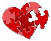 Raster Version. Valentine's heart puzzle