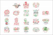 1 May Set Original Design. Spring Holidays, First May, International Labor Day Colorful Hand Drawn V poster