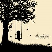 image of swing  - Vector silhouette of girl on swing - JPG