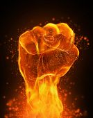 stock photo of angry  - Fire fist - JPG