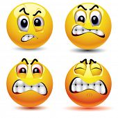 stock photo of stress-ball  - Smiling balls with different face expression of anger - JPG