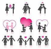 stock photo of love couple  - Pictograms which represent  couple in love - JPG