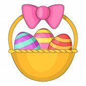 Easter Basket Icon. Cartoon Illustration Of Easter Basket Icon For Web poster