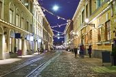 Street In The Old Town, Helsinki, Finland, Christmas poster