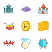 Switzerland National Cultural Symbols Icons Set. Cartoon Illustration Of 9 Switzerland National Cult poster