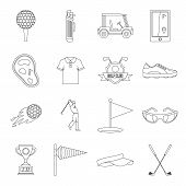 Golf Items Icons Set. Outline Illustration Of 16 Golf Items Icons For Web poster