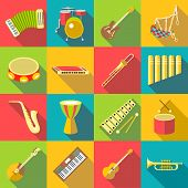 Musical Instruments Color Icons Set. Flat Illustration Of 16 Musical Instruments Color Icons For Web poster