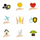 Assurance Icons Set. Flat Illustration Of 9 Assurance Icons For Web poster