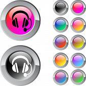 Постер, плакат: Call центр многоцветной глянцевый круглой кнопки