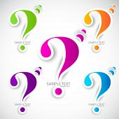 Colorful paper question mark for speech