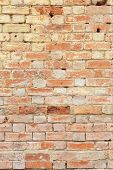 Detail Of Old Brick Wall, Distressed And Faded. Ideal For Grunge Background Texture poster