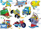 Vector cartoon transport set