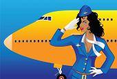 foto of bon voyage  - Saluting flight attendant - JPG